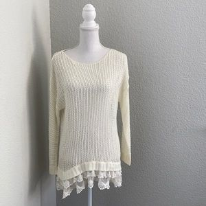 Entro Long Sleeve Knit with lace detail Shirt
